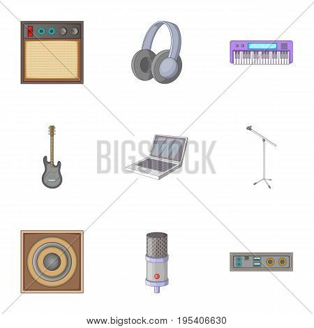 Music studio icons set. Cartoon set of 9 music studio vector icons for web isolated on white background