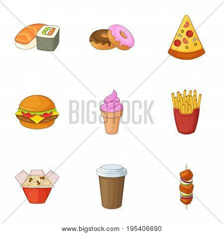Restaurant food icons set. Cartoon set of 9 restaurant food vector icons for web isolated on white background