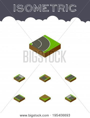 Isometric Road Set Of Turn, Cracks, Unfinished And Other Vector Objects. Also Includes Asphalt, Turn, Unilateral Elements.