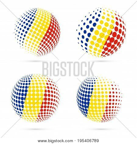 Romania Halftone Flag Set Patriotic Vector Design. 3D Halftone Sphere In Romania National Flag Color
