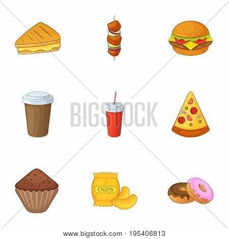 Harmful fast food icons set. Cartoon set of 9 harmful fast food vector icons for web isolated on white background poster