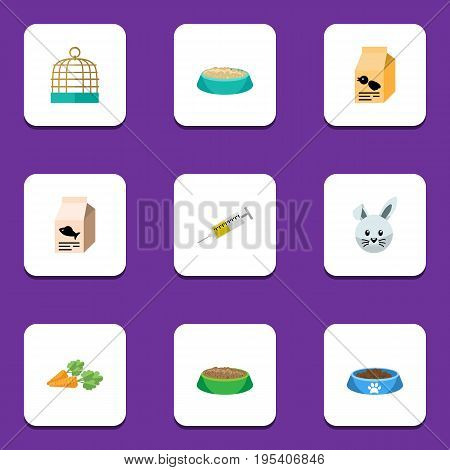 Flat Icon Animal Set Of Rabbit Meal, Feeding, Fish Nutrient And Other Vector Objects. Also Includes Birdcage, Medicine, Bird Elements.