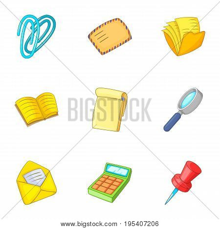 Accountant equipment icons set. Cartoon set of 9 accountant equipment vector icons for web isolated on white background