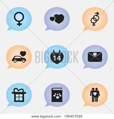 Set Of 9 Editable Love Icons. Includes Symbols Such As Couple, Gift, Woman Symbol And More. Can Be Used For Web, Mobile, UI And Infographic Design.