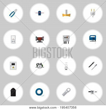 Set Of 16 Editable Instruments Icons. Includes Symbols Such As Outlet, Jack, Buzzsaw And More. Can Be Used For Web, Mobile, UI And Infographic Design.