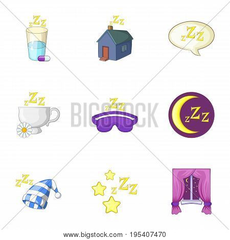 Time to sleep icons set. Cartoon set of 9 time to sleep vector icons for web isolated on white background