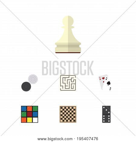Flat Icon Play Set Of Ace, Chequer, Bones Game And Other Vector Objects. Also Includes Game, Checkerboard, Checkers Elements.