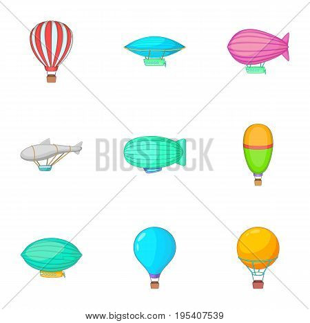 Different air transport icons set. Cartoon set of 9 different air transport vector icons for web isolated on white background