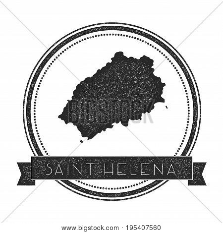 Saint Helena Map Stamp. Retro Distressed Insignia. Hipster Round Badge With Text Banner. Island Vect