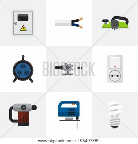 Set Of 9 Editable Instruments Icons. Includes Symbols Such As Jig Saw, Jack, Jointer And More. Can Be Used For Web, Mobile, UI And Infographic Design.