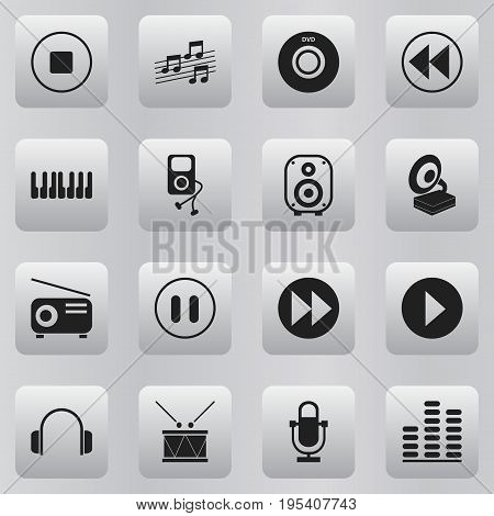 Set Of 16 Editable Mp3 Icons. Includes Symbols Such As Recorder, Phonograph, Timpano And More. Can Be Used For Web, Mobile, UI And Infographic Design.