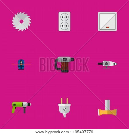 Set Of 9 Editable Instruments Icons. Includes Symbols Such As Socket, Blowpipe, Switch And More. Can Be Used For Web, Mobile, UI And Infographic Design.