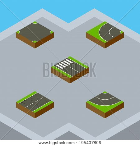 Isometric Road Set Of Strip, Road, Cracks And Other Vector Objects. Also Includes Strip, Road, Earthquake Elements.