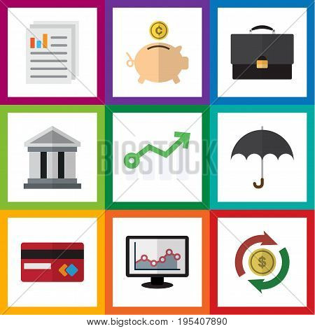 Flat Icon Gain Set Of Payment, Chart, Money Box And Other Vector Objects. Also Includes Beach, Architecture, Money Elements.