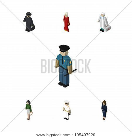 Isometric Person Set Of Pedagogue, Medic, Officer And Other Vector Objects. Also Includes Mariner, Medic, Girl Elements.