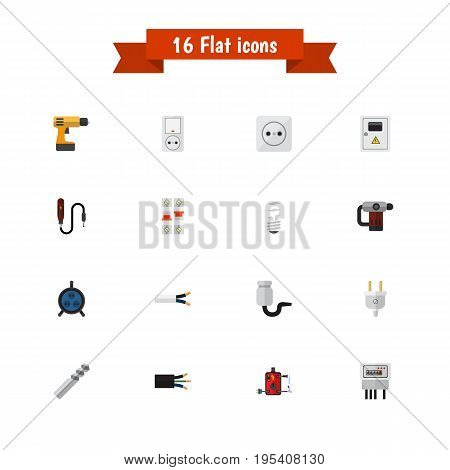 Set Of 16 Editable Electrical Icons. Includes Symbols Such As Screwdriver, Soldering, Receptacle And More. Can Be Used For Web, Mobile, UI And Infographic Design.