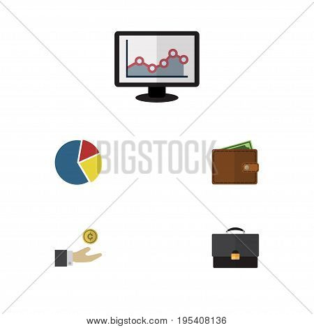 Flat Icon Incoming Set Of Graph, Portfolio, Billfold And Other Vector Objects. Also Includes Billfold, Briefcase, Portfolio Elements.