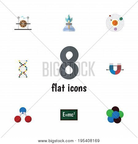 Flat Icon Study Set Of Genome, Electrical Engine, Milky Way And Other Vector Objects. Also Includes Attractive, Proton, Burner Elements.