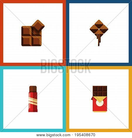 Flat Icon Sweet Set Of Chocolate Bar, Cocoa, Delicious And Other Vector Objects. Also Includes Chocolate, Box, Sweet Elements.