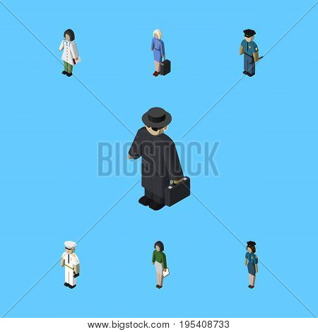 Isometric Person Set Of Officer, Pedagogue, Detective And Other Vector Objects. Also Includes Policewoman, Officer, Mariner Elements.