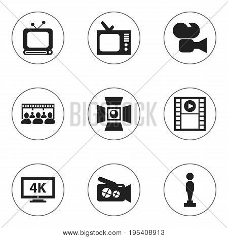 Set Of 9 Editable Movie Icons. Includes Symbols Such As Camcorder, Portable Camera, Ultra Display And More. Can Be Used For Web, Mobile, UI And Infographic Design.