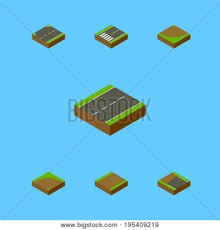 Isometric Way Set Of Incomplete, Upwards, Footpassenger And Other Vector Objects. Also Includes Up, Road, Sand Elements.