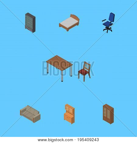 Isometric Design Set Of Bedstead, Office, Sideboard And Other Vector Objects. Also Includes Bed, Settee, Armchair Elements.