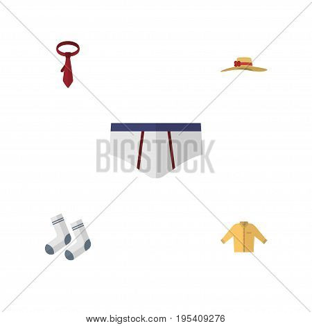 Flat Icon Garment Set Of Underclothes, Elegant Headgear, Banyan And Other Vector Objects. Also Includes Man, Underclothes, Necktie Elements.
