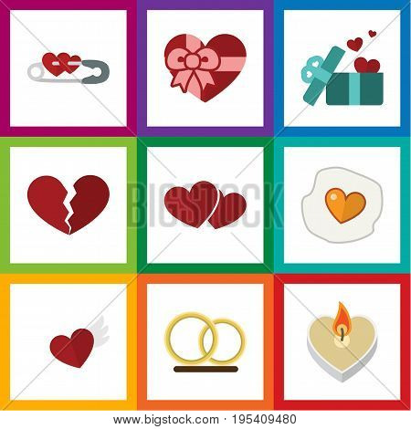 Flat Icon Heart Set Of Wings, Scrambled, Ring And Other Vector Objects. Also Includes Scrambled, Ring, Pin Elements.