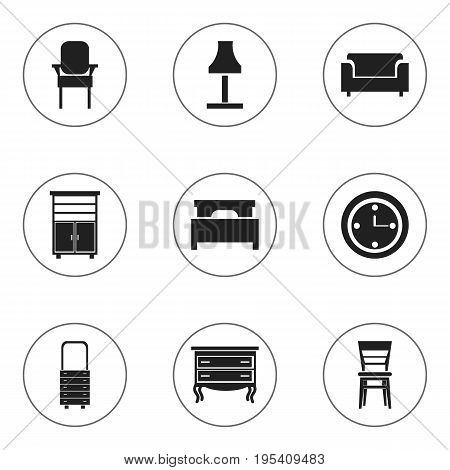 Set Of 9 Editable Furnishings Icons. Includes Symbols Such As Glim, Armhair, Wall Mirror And More. Can Be Used For Web, Mobile, UI And Infographic Design.