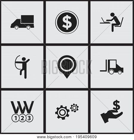 Set Of 9 Editable Complicated Icons. Includes Symbols Such As Position, Cogwheel, Currency And More. Can Be Used For Web, Mobile, UI And Infographic Design.