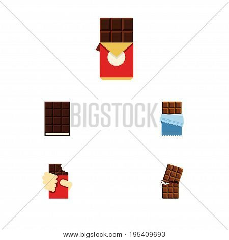 Flat Icon Bitter Set Of Chocolate Bar, Shaped Box, Dessert And Other Vector Objects. Also Includes Bitter, Wrapper, Dessert Elements.