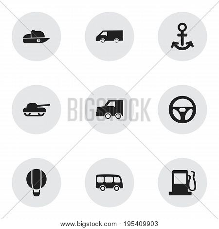 Set Of 9 Editable Shipment Icons. Includes Symbols Such As Tour Bus, Van, Shipping And More. Can Be Used For Web, Mobile, UI And Infographic Design.