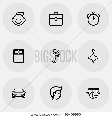 Set Of 9 Editable Kin Icons. Includes Symbols Such As Baby, Hour, Perambulator And More. Can Be Used For Web, Mobile, UI And Infographic Design.