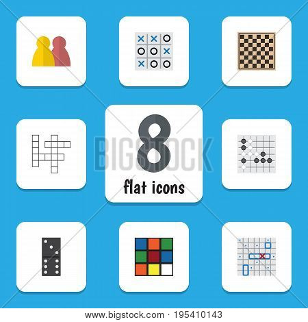 Flat Icon Entertainment Set Of Cube, Gomoku, People And Other Vector Objects. Also Includes Square, Chess, Domino Elements.