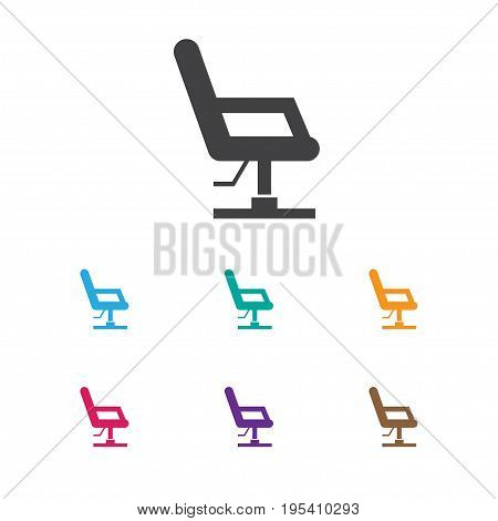 Vector Illustration Of Coiffeur Symbol On Barber Chair Icon. Premium Quality Isolated Elbow Chair  Element In Trendy Flat Style.