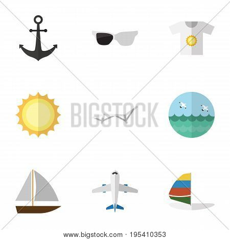 Flat Icon Season Set Of Spectacles, Yacht, Aircraft And Other Vector Objects. Also Includes Anchor, Sunshine, Ocean Elements.