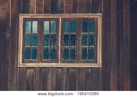 Graphic of old home with wood wall and wood windows with glass old style color vintage Laos