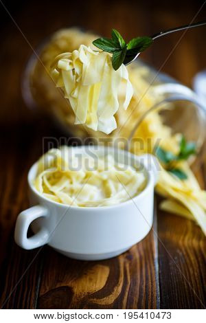 Sweet Noodles With Milk In A Plate