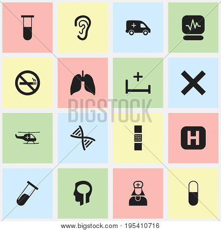 Set Of 16 Editable Hospital Icons. Includes Symbols Such As Stop Smoke, Clinic, Genome And More. Can Be Used For Web, Mobile, UI And Infographic Design.