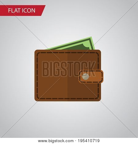 Isolated Wallet Flat Icon. Billfold Vector Element Can Be Used For Pocketbook, Wallet, Billfold Design Concept.