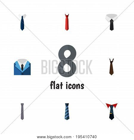 Flat Icon Tie Set Of Necktie, Tie, Textile And Other Vector Objects. Also Includes Collar, Fashion, Tie Elements.