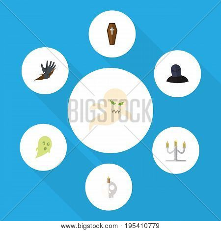 Flat Icon Celebrate Set Of Candlestick, Phantom, Cranium Vector Objects. Also Includes Specter, Casket, Corpse Elements.