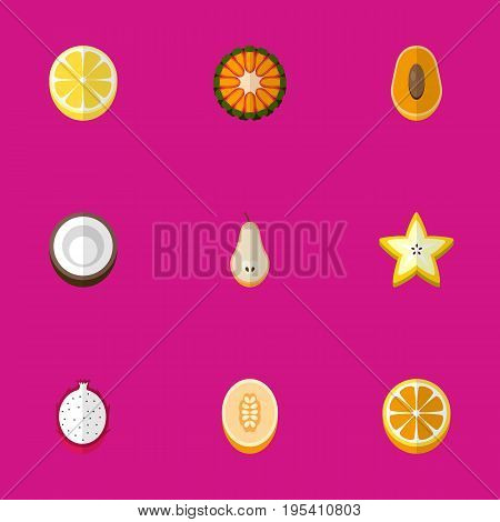 Set Of 9 Editable Dessert Icons. Includes Symbols Such As Guava, Duchess, Watermelon And More. Can Be Used For Web, Mobile, UI And Infographic Design.