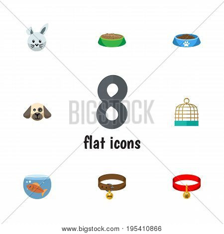 Flat Icon Animal Set Of Puppy, Bunny, Fishbowl And Other Vector Objects. Also Includes Bowl, Birdcage, Rabbit Elements.