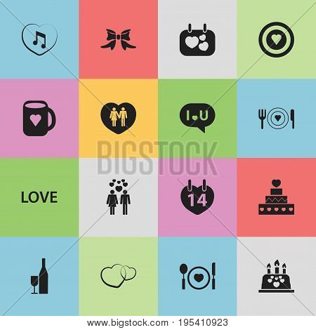 Set Of 16 Editable Passion Icons. Includes Symbols Such As Cutlery, Cake, Confession And More. Can Be Used For Web, Mobile, UI And Infographic Design.