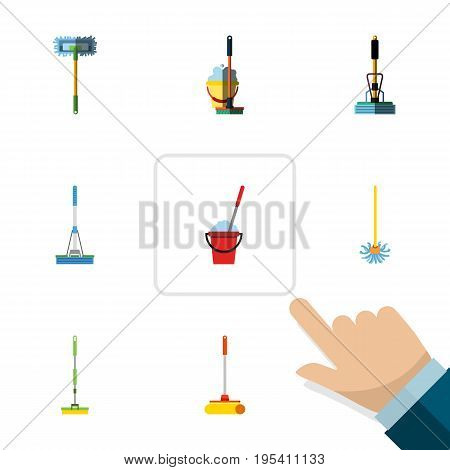 Flat Icon Broomstick Set Of Equipment, Besom, Cleaning And Other Vector Objects. Also Includes Bucket, Besom, Cleaner Elements.