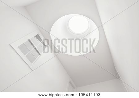 A Bright and Beautiful Skylight on a White Hallway