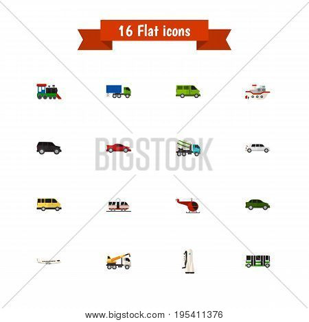 Set Of 16 Editable Car Icons. Includes Symbols Such As Streetcar, Lorry, Delivery And More. Can Be Used For Web, Mobile, UI And Infographic Design.