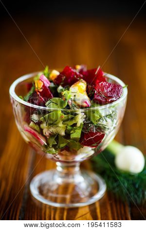 Salad From Boiled Beet With Eggs And Fresh Vegetables